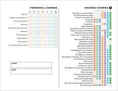 Chore Chart for teen