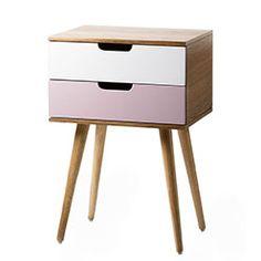 Louis 2 Drawer Side Table Pink - Adairs Kids