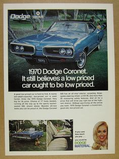 1970 Dodge Coronet 500 blue car 3x color photo vintage print Ad | eBay