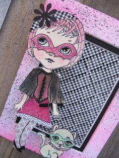 OOAK Original 3D Big Eyed Paper Doll Mixed Media Pop Art - If You are a Super Hero