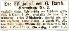 Original-Werbung/ Anzeige 1859 - ESSIGFABRIK G. BARTH - HALLE a.d. SAALE / HERRENSTRASSE 2 - ca. 75 x 30 mm