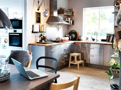 Environmentally-friendly kitchen    Make your kitchen more environmentally-friendly with storage bins, smart shelving systems, waste sorting bins, an efficient hob and water-saving taps.