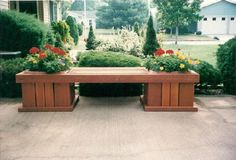 Beautiful Outdoor Bench with Flower Holders <3