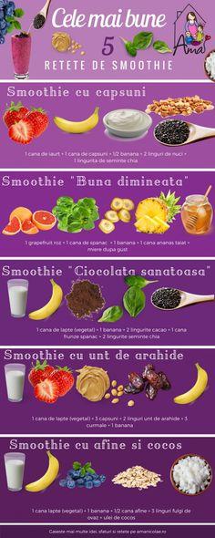 Cele mai bune 5 retete de smoothie - Ama Nicolae Healthy Juices, Healthy Smoothies, Health And Nutrition, Healthy Drinks, Smoothie Recipes, Vegan Recepies, Raw Food Recipes, Healthy Recipes, Avocado Egg Recipes