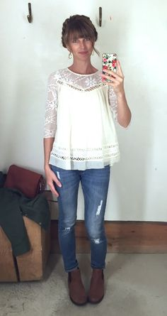 what i wore - bohemian top, distressed jeans, ankle boots
