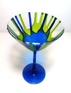 Hand Painted Martini Glasses - Multi Colored on Etsy, $30.00
