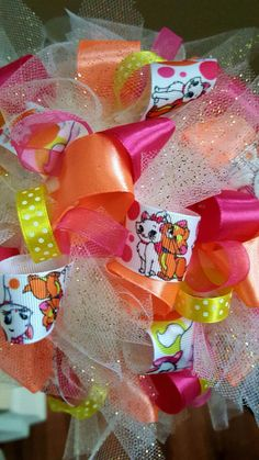 Aristocats Disney Theme Birthday Party Centerpiece Ribbon Topiary Kids Room Decor Baby Shower Gift!  Tulle & Ribbon! by CuteAsAButtonForAll on Etsy