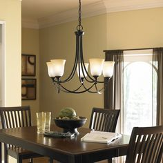 allen + roth Winnsboro 5-Light Oil-Rubbed Bronze Chandelier LWS0333C-something similar to this, clean lines are a must