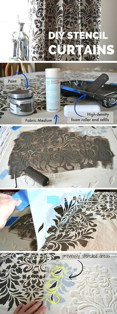 Check out the tutorial: DIY Stencil Curtains #DIY #crafts #homedecor