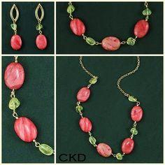 Colar e brincos com citrinos e jaspe rosê! www.ckdsemijoais.com.br
