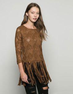 Moda em Crochê: Crochê + Suede - Blusa de crochê e suede Bershka