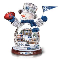 Indianapolis Colts Crystal Snowman with Moving Train #Colts