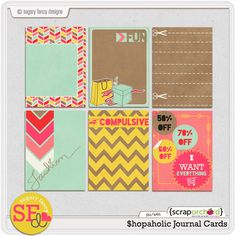 Quality DigiScrap Freebies: Shopaholic journal cards freebie from Sugary Fancy Designs