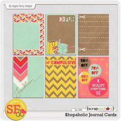 Quality DigiScrap Freebies: Shopaholic journal cards freebie from Sugary Fancy Designs
