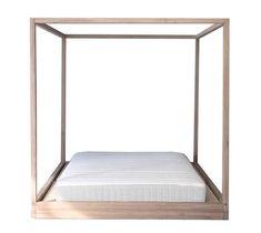 Cubic Four Poster Bed - Pale Oak