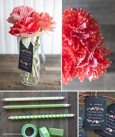 DIY washi tape pen and paper flower bouquet.  #appreciation #gift #idea @Skip Bronkie to my Lou