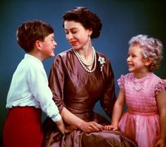 The Queen in 1954 with Prince Charles and Princess Anne. by The British Monarchy, via Flickr