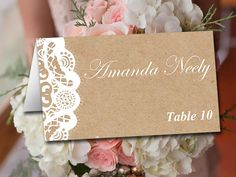Fold Over Wedding Place Card Template - Kraft Escort Card -  Vintage Lace Place Cards - Kraft Wedding Table Cards - Rustic Name Cards by PaintTheDayDesigns on Etsy https://www.etsy.com/listing/190084362/fold-over-wedding-place-card-template