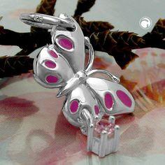 Anhänger Schmetterling pink, Silber 925  pink lackiert, mit Zirkonia pink  Legierung: 925/000 Silber, Sterling Silver, nickelfrei