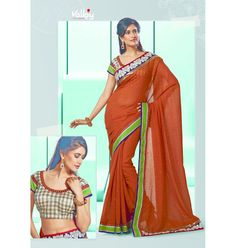 Orange sari delicate collection Vaaman creation