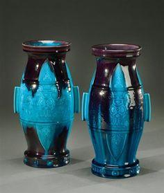 Theodore Deck (français, 1823 - 1891) Paire de vases , vers 1880 - 1890 enameled ceramic, H.25,5 cm