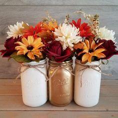 Fall Mason Jar Centerpiece/Fall Decor/Fall Home Decor/Painted | Etsy