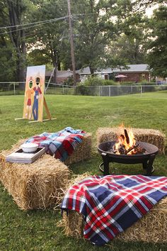 Back yard fire pit with hay bales and blankets