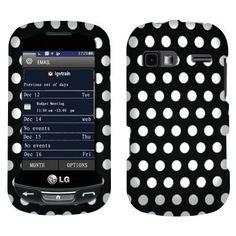 LG Xpression C395 Rumor Reflex LN272 Hard Cover Case - Black/ White Polka Dot