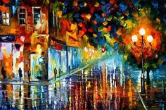 Belarusian painter Leonid Afremov is one of the most colorful painters you've never heard of.  His skill with a palette knife and oil paint creates vivid scenes and cityscapes full of bright colors and watery reflections.  His thick strokes are almost mosaic in nature, but the result is not without detail where the colors merge.  Afremov's landscapes capture the emotion of a casual stroll through an old Belarusian city, with all the vibrant color and culture alive in this artist's…