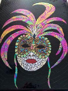 Venetian Mask by Dianne Neil - iridescent glass mosaic Mosaic Wall Art, Mosaic Diy, Mosaic Glass, Mosaic Tiles, Making Stained Glass, Stained Glass Patterns, Stained Glass Art, Mosaic Portrait, Tiffany Art