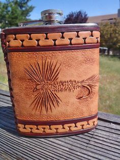 Hand tooled leather covered 8 oz  flask by FeatherRiverLeather, $60.00