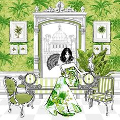 """The Tropical Escape from Megan Hess's book """"Fashion House"""". Each print is hand signed by Megan Hess. Megan Hess Illustration, Illustration Mode, Illustration Artists, Kerrie Hess, Arte Fashion, Art Archive, Fashion Sketches, Fashion Illustrations, Fashion Drawings"""