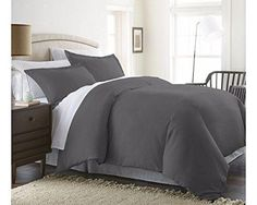 Beckham Hotel Collection Luxury Soft Brushed 1800 Series Microfiber 3 Piece Duvet Cover Set - Hypoallergenic - Full/Queen Gray