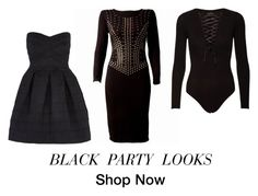 """""""Black party looks"""" by saturdaynightfashion on Polyvore featuring Wow Couture, women's clothing, women, female, woman, misses and juniors"""