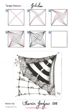 Online instructions for drawing CZT® Karin Godyns's Zentangle® pattern: Gotcha. Tangle Doodle, Tangle Art, Zen Doodle, Doodle Art, Zentangle Drawings, Doodles Zentangles, Doodle Drawings, How To Zentangle, Doodle Patterns
