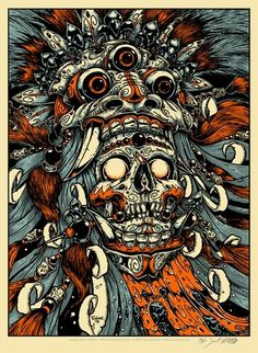 "Skull Paintings | ... ! » Archive » ""Bali Mask and Skull"" Art Print by Jeral Tidwell"
