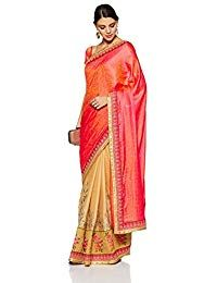 4cf0e15d032fb Aalia Faux Georgette Embroidered Saree with Blouse piece (15628 Beige and  Bright Red One size)  Amazon.in  Clothing   Accessories