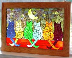 For cat lovers.first buy a used thrift store frame & then make the mosaic to fit that frame. Mosaic Tile Art, Mosaic Crafts, Mosaic Projects, Stained Glass Projects, Stained Glass Patterns, Mosaic Patterns, Stained Glass Art, Mosaic Glass, Art Projects