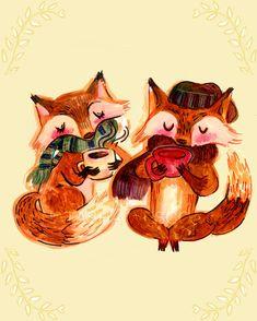 Coffee Date Red FOX Art Print 13x19 ORIGINAL painted by wescoatart, $30.00