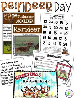 Printable reindeer text, reindeer math, and more!