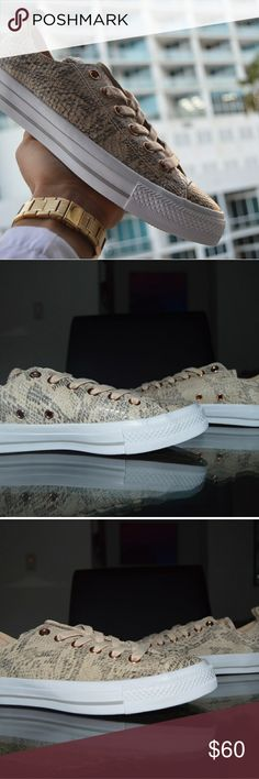 Ivory Snake print low top Converse 100% Authentic Ds/Brand New Women Size 7/5.5 in boys  Comes with Original everything! Box lid is ripped off! Nice and comfortable sneakers! Converse Shoes Sneakers
