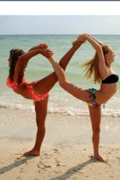 Best friends at the beach. This is cool, but too bad we're not that flexible, Ky.