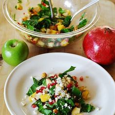 Chopped salad with spinach, pomegranates, mango, apples, pears, and Gorgonzola cheese - great brunch salad