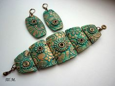 polymer clay bracelets and earrings