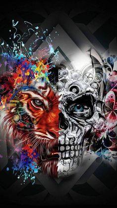 mask wallpaper for android Fantasy Kunst, Dark Fantasy Art, Dark Art, Sugar Skull Wallpaper, Tiger Skull, Graffiti, Skull Pictures, Skull Artwork, Sugar Skull Art