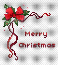 Merry Christmas cross stitch card design for 14 count fabric white.This pattern uses 6 DMC thread colors.