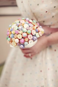 Bright and bold retro love heart candy bouquet in by Beaubuttons