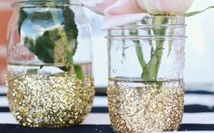 glitter mason jars for vases (pic from Pink Preppy Lilly Lover)