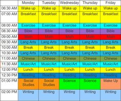 Homeschool schedule...I love that exercise is part of their schedule...but I would not get up this early. Just sayin