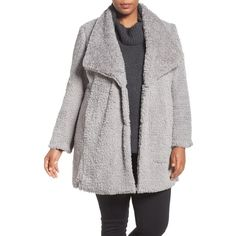 Plus Size Women's Kenneth Cole New York Faux Fur Drape Collar Coat ($90) ❤ liked on Polyvore featuring plus size women's fashion, plus size clothing, plus size outerwear, plus size coats, pale grey, plus size, drape coat, wrap coat, fake fur coats and wrap collar coat